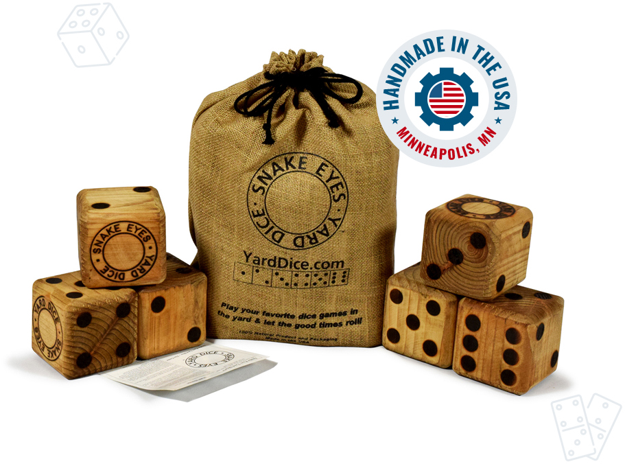 The Game includes rope ring - Made in U-S-A Snake Eyes Yard Dice FREE PRIORITY SHIPPING